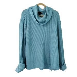 Lane Bryant Blue Chunky Knit Cowl Neck Sweater